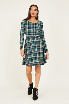 Yumi Check Skater Dress With Contrast Belt