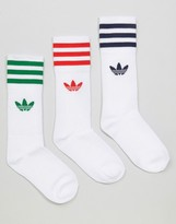 adidas 3 Pack Socks In Primary Colors With Trefoil Logo