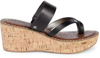 Sam Edelman Rayna Slip-On Leather Wedge Sandals