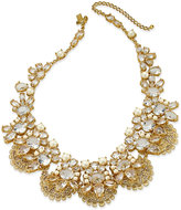 Kate Spade Gold-Tone White Imitation Pearl and Crystal Filigree Collar Necklace