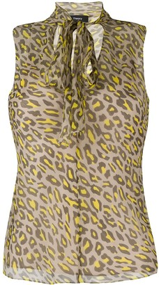 Theory Tie-Scarf Leopard-Print Blouse