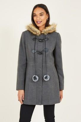 Yumi Grey Duffle Coat With Pom-Poms