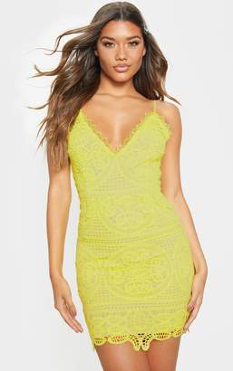 PrettyLittleThing Lime Strappy Plunge Lace Bodycon Dress