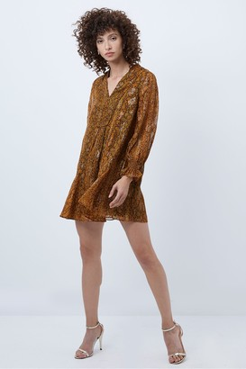 French Connection Desta Snake Jacquard Smock Dress