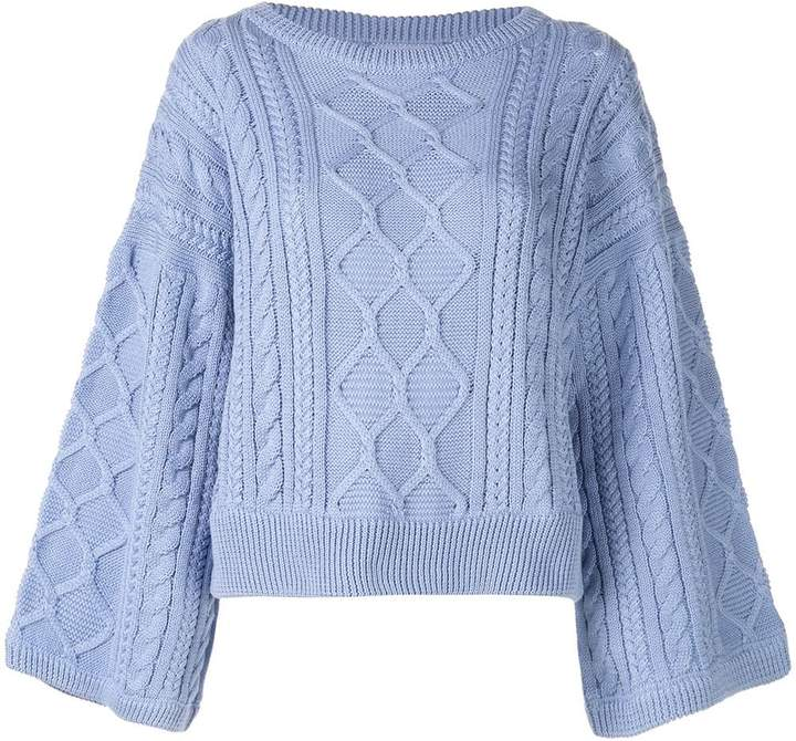 I Love Mr Mittens cabled kimono sleeve jumper