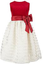 Jayne Copeland 7-12 Sleeveless Striped Organza Christmas Dress