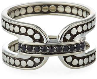 John Hardy Dot Silver Band Ring w/ Black Sapphire, Size 7