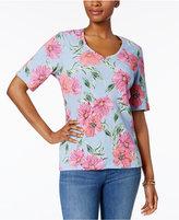 Karen Scott Printed V-Neck T-Shirt, Only at Macy's