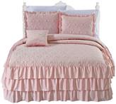 Serenta Matte Satin Ruffle 4 Piece Bed Spread Set, Pink, Queen