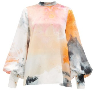 Roksanda Cala Balloon-sleeve Space-print Silk Blouse - Orange