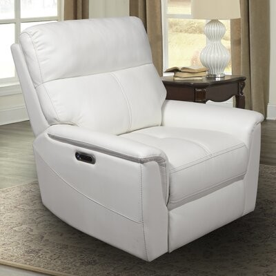 """Winston Porter Hanish 36.5"""" Wide Genuine Leather Power Standard Recliner Upholstery Color: White Genuine Leather"""