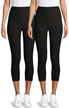 No Boundaries Juniors' Basic High Waist Capri Leggings, 2-Pack