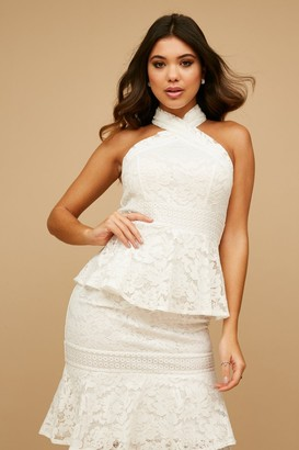 Little Mistress Kenzo White Tiered-Lace Ruffle Midaxi Dress