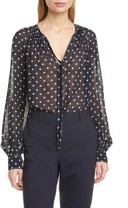 Polo Ralph Lauren Shelby Dot Print Georgette Blouse
