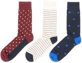 Linea 3 Pack Spot And Stripe Socks