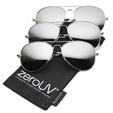 Zerouv Premium Mirrored Aviator Top Gun Sunglasses w/ Spring Loaded Temples