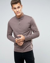 Asos Long Sleeve Jersey Polo In Light Purple