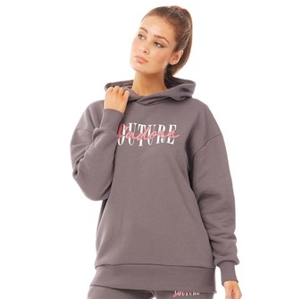 J'adore Couture Womens Atlas Oversized Hoodie Grey