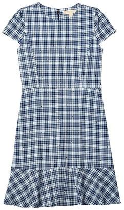 MICHAEL Michael Kors Glam Plaid and Stud Flounce Dress (Chambray) Women's Dress