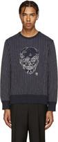 Alexander McQueen Navy Skull Stitching Pullover