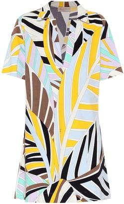 Printed cotton-blend minidress