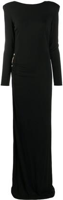 Elisabetta Franchi Long Sleeve Open-Back Maxi Dress