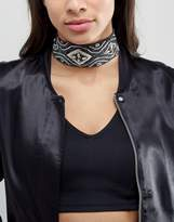Asos Embellished Scarf Print Choker Necklace