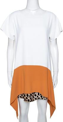Just Cavalli White & Tan Colorblock Crepe Leopard Printed Trim Oversized Dress S