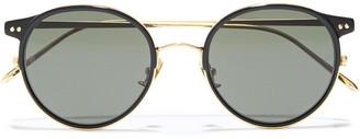 Linda Farrow Round-frame Gold-tone And Acetate Mirrored Sunglasses
