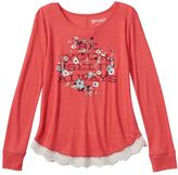 Mudd Girls 7-16 & Plus Size Crochet Scalloped Graphic Tee