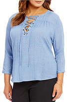Blu Pepper Plus Lace Up 3/4 Sleeve Peasant Shirt