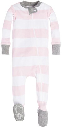 Burt's Bees Rugby Stripe Organic Baby Zip Front Snug Fit Footed Pajamas