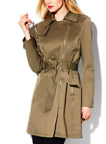 Vince Camuto Zipper Belted Trench Coat
