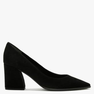 Kennel + Schmenger Grace Black Suede Chunky Heel Court Shoes