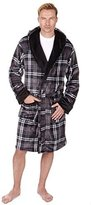 Pierre Roche Mens Check Luxury Supersoft Hooded Dressing Gown / Bath Robe ~ Medium to XXL