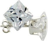 Sabrina Silver Sterling Silver Cubic Zirconia Square Earrings Studs 4 Prong 7 mm Princess cut 4 carat/pair