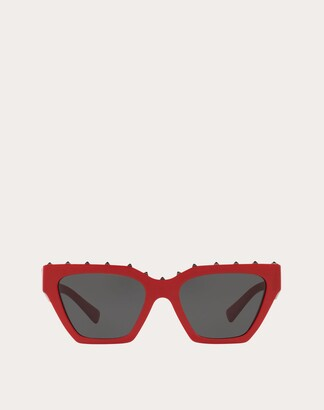 Valentino Squared Frame Acetate Sunglasses Man Red Acetate 100% OneSize