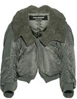 Junya Watanabe Faux Fur-trimmed Satin-twill Jacket - Army green