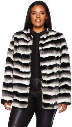 Junarose Women's Plus Size Long Sleeve Faux Fur Short Jacket