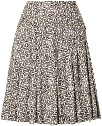 Paule Ka Geometric Print Pleated Skirt