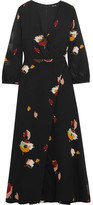 Madewell Jane Wrap-effect Floral-print Georgette Maxi Dress - Black