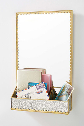 Anthropologie Scalloped Storage Mirror By in Brown Size S
