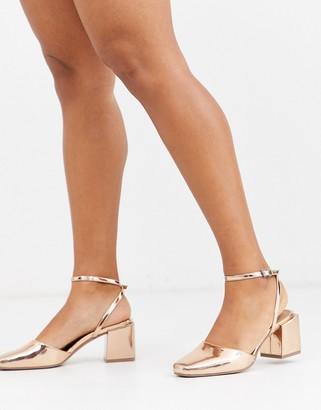 Asos Design DESIGN Salvation block heeled mid shoes in rose gold