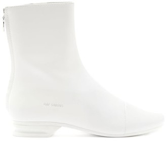 Raf Simons Notched-heel Zipped Leather Boots - White