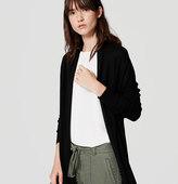 LOFT Petite Ribbed Sleeve Open Cardigan