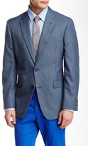 Tommy Hilfiger Blue Minicheck Two Button Notch Lapel Jacket