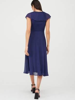 Very Pleated Cape Woven Midi Dress