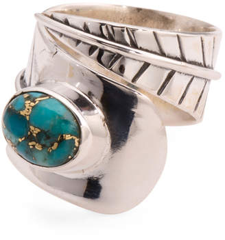 Made In India Sterling Silver Copper Turquoise Bypass Ring