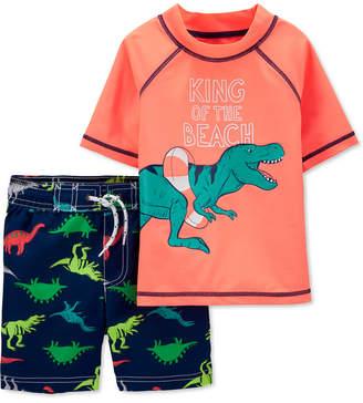 Carter's Carter Toddler Boys 2-Pc. Dinosaur Rash Guard & Swim Trunks Set