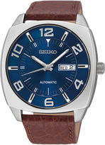 Seiko Recraft Mens Brown Leather Strap Automatic Watch SNKN37